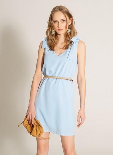 People By Fabrika Bağlama Detaylı Elbise Mavi